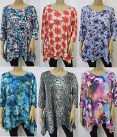 Colorful Print 3/4 Sleeve Scoop Neck Shark Bite Tunic Top Reg & Plus Size M~3X