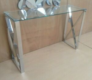 Bude Console table Side Coffee Table Desk Steel Legs Silver Clear Glass