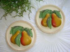 "Vintage Chalkware Pair of Pears Round Wall Plaques 5 5/8"" Kitchen Dining Decor"