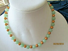 Jade  Beaded Necklace hand Strung Gold Plate beads/clasp 18 inches