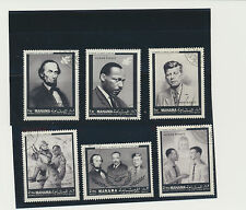 Abraham Lincoln, Martin L King, John F Kennedy, Human Rights Set of 6 Stamps