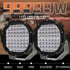 99999W Pair 9inch Cree LED Driving Lights Round Black COMBO BEAM Offroad Jeep