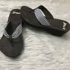 Reef Wedge Thong Sandals Brown Blue Stripes Size 9
