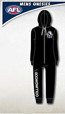 Collingwood Magpies AFL Mens Adult Black Printed Hooded Onepiece Pyjama Size S