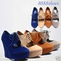 Women's Fashion Round Toe Lace Zipper Platform Wedge Boot Sandal Shoes Size 5-10