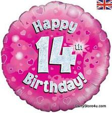 "18"" PINK HOLOGRAPHIC FOIL BALLOON ""HAPPY 14TH BIRTHDAY"" CELEBRATION PARTY"