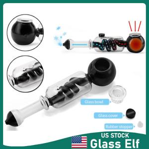 8'' Black Glass Bong Hookah Water Pipe Shisha Bong Hand Pipe With Removable Bowl