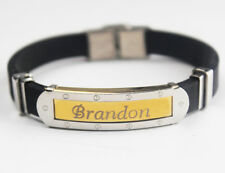 BRANDON - Bracelet With Name - Mens Silicone & Gold Tone Engraved - Gift For Him