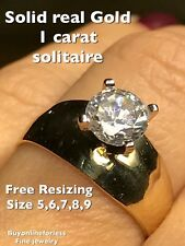 10k solid Real Gold Ring 1 Ct Carat Round Y Manmade Diamond Engagement 7 5 6 8 9