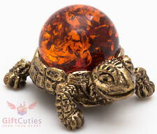 Solid Brass Amber Figurine Tortoise Turtle in Amber Shell talisman IronWork