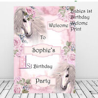 Personalised 1st Birthday First Welcome party Sign Pink Girls Unicorns Decor