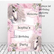 1st Personalizzato Compleanno Prima Festa di Benvenuto Segno Rosa Ragazze Unicorni Decor