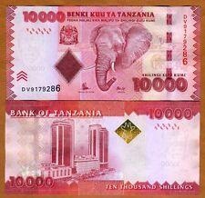 Tanzania 10,000 (10000) shillings 2010 (2015) P-44b New Signature UNC > Elephant