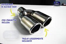 Terminale scarico inox universale auto per marmitta tuning cromato set doppio