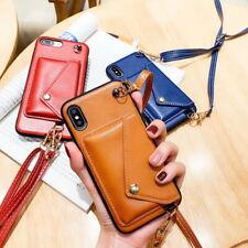 Shoulder Strap Luxury Leather Wallet Card Holder Back Case Cover For Smart Phone