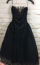 Vintage Gunne Sax Junior 5 Black Lace Short Formal Dress