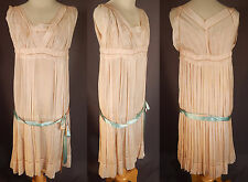 Vintage Pink Pleated Silk French Knot Embroidery Ribbon Belt Grecian Gown Dress