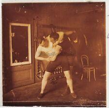 Boxeurs Boxe Lutte Photo Plaque de verre Stereo Vintage 1922