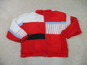 VINTAGE Le Coq Sportif Jacket Adult Large Red White Windbreaker Coat Mens 90s *