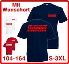 FREIWILLIGE FEUERWEHR T-SHIRT MIT WUNSCHORT BEIDSEITIGER DRUCK 104 - 3XL