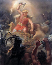Viking Norse God Of Lightning Battles Giants Painting 8x10 Real Canvas Art Print