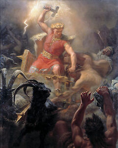 Viking Norse God Of Lightning Battles Giants Painting 8x10 Real Canvas Art Print