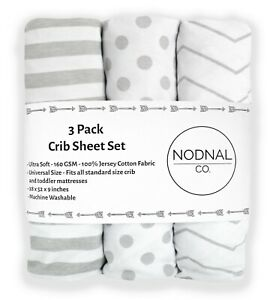 3 Pack Gray Fitted Crib Sheets Cotton Girl/Boy Baby/Toddler Mattress NODNAL CO.