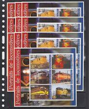 Trains Locomotives Transport 2002 Benin MNH set 6 v M/s perf  X 10 Wholesale lot