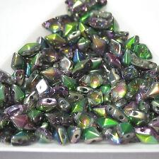 Magic Orchard Purple Green Diamonduo™ 10 grams 2-Hole 5x8mm Czech Glass Beads
