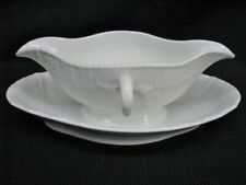 "KPM Berlin Porcelain ""Neuosier"" Pattern 9"" Gravy / Sauceboat & Under Plate (183)"