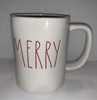 "Rae Dunn Ceramic Coffee Tea Mug ""MERRY"" in Red Letters  Artisan Collection 202"