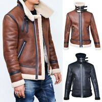 Winter Men's Fleece Lining Coat Suede Leather Thick Warm Outwear Biker Jacket