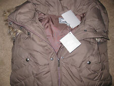 NEW- NWT Womens Down Parka Coat Fur Hood XL L Brown 650 Fill Power Long Jacket