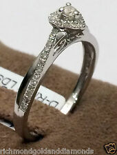 NEW White Gold Halo Style Heart Shape Diamonds Cathedral  Engagement Ring Skinny