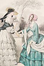 Gravure de Mode XIX° Robes verte et blanche Conversation Journal des demoiselles