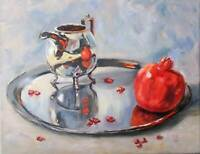 """""""Pomegranate and silver"""" Original oil painting realism still life 11x14"""""""
