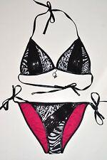 NWT BABY PHAT swimsuit Small S Black 2pc bikini bathing swim wear animal print