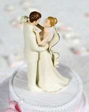 Off-White Porcelain Bride Groom with 24k Gold Trim Accents Wedding Cake Topper