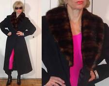 $199 - Terry Lewis Classic Luxuries wool black long wrap coat faux fur collar M