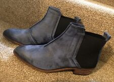 Womens Buffalo London Leather Ankle Chelsea Boots 40 (7) Rare Brushed Blue NEW