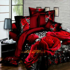 Red Rose Queen Size Bed Quilt/Doona/Duvet Cover Set New Pillow Cases Linen