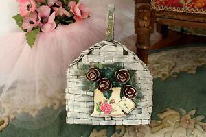 Shabbychic painted handmade wicker basket for flowers veg fruits displaying etc