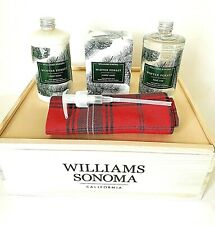 Nib William Sonoma Winter Forest Candle,Soap, Lotion 3-Pc Gift Set In Wooden Box
