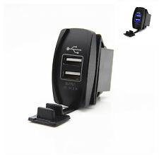 2 Port Charger Boat Car Backlit Switch Dual Blue LED USB Socket Charger For Benz