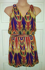NEXT RUNWAY PETITE FIT CITRUS PURPLE GREEN TUNIC TOP/SHORT DRESS 12 STRAPPY BACK