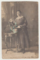 Pretty Young Woman Lady Girl Female Hand Tinted 1920s VTG Old Photo