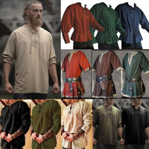 Medieval Viking Norseman Tunic Tops Shirts Blouse Pirate Knight Cosplay Costume