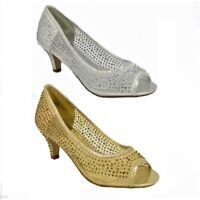 NEW DIAMANTE NET SEE THRU MID HEEL PEEP TOE EVENING BRIDAL COURT SHOES SIZE