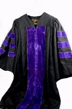 "Oak Hall Academic Doctoral Gown Black w/ Purple Velvet Trim, Size 3 (5'7 - 5'9"")"