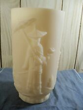 "Fenton Custard Satin Glass Mandarin Vase - 9 1/4"" Tall Item 491"